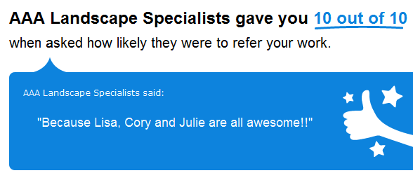 "10 out of 10 ""Because Lisa, Cory and Julie are all awesome!!"""